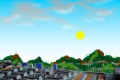 lucht met zon + printplaatlandschap b